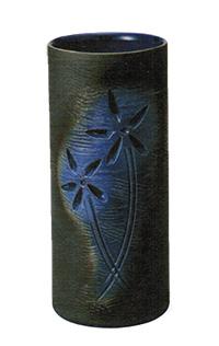 8072-09 ルリ釉花彫傘立