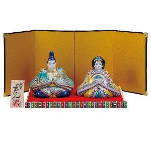 【送料無料】 K5-1676 九谷焼 5号雛人形 色絵松竹梅