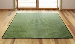 国産い草ラグ 桃山 200×200cm グリーン