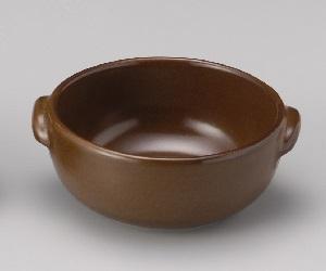 2-15674 萬古焼 丸グラタン皿 ブラウン×6個セット
