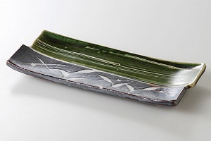 美濃焼 織部芦 焼物皿 2個セット