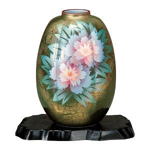 K5-1271 九谷焼 8号花瓶 牡丹(台付)