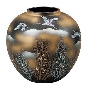 K5-1310 九谷焼 7号花瓶 金雲木立