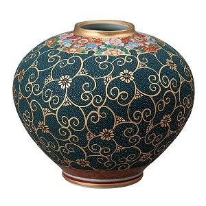K5-1337 九谷焼 8号花瓶 本金青粒花詰