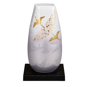 K5-1356 九谷焼 10号花瓶 銀彩飛翔 (台付)