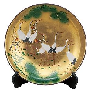 K5-1387 九谷焼 10号飾皿 金彩群鶴