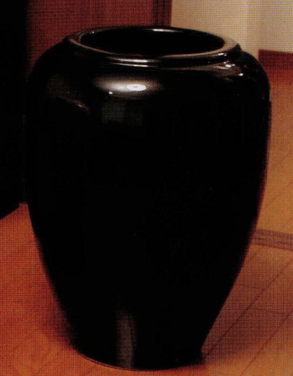 信楽焼 光沢花瓶 18号 (SS-P6020-06)黒光沢鯉口