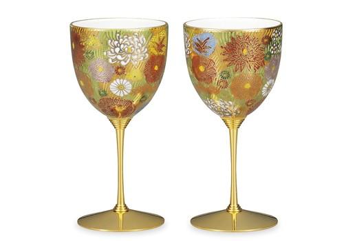 AP2-1008 九谷焼 ペアワインカップ 金花詰