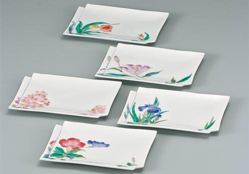 AP2-0262 九谷焼 7号皿揃 色絵花の詩