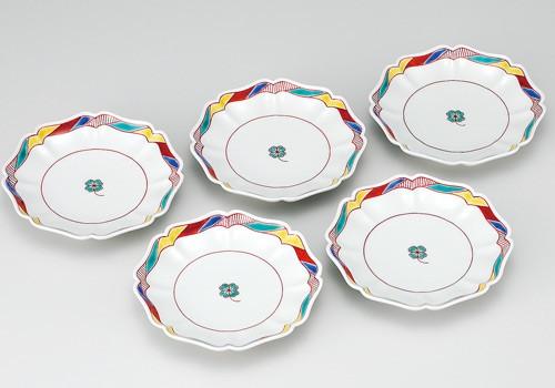 【送料無料】 K3-132 九谷焼 5.5号皿揃 四つ葉のクローバー