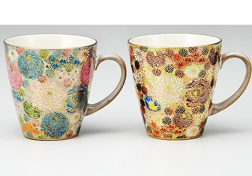 K3-984 九谷焼 ペアマグカップ 花詰