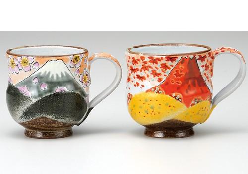 K3-985 九谷焼 ペアマグカップ 春の富士・秋の富士