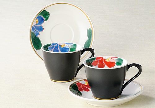 K3-1031 九谷焼 ペアコーヒー 色椿