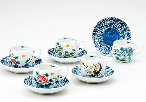 K3-1044 九谷焼 コーヒーセット 草花絵変り