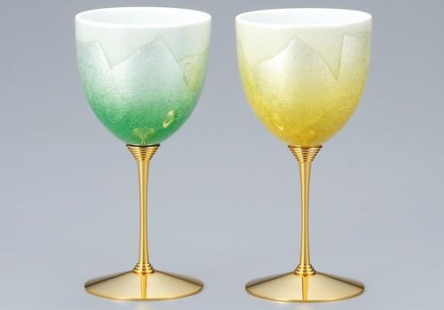 K3-1177 九谷焼 ペアワインカップ 銀彩