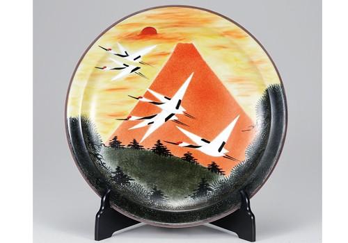 K3-1519 九谷焼 12号飾皿 赤富士