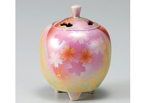 K3-1580 九谷焼 3.3号香炉 花園