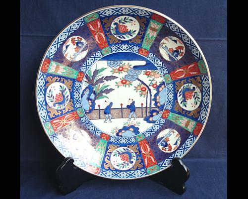 有田焼 飾り皿 芭蕉唐子 15寸 (皿立て・箱付き)【送料無料】