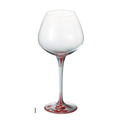有田焼 浪漫グラス 赤絵錦剣先万暦 ハイレッグワイングラス<大>
