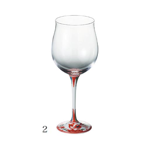 有田焼 浪漫グラス 赤絵錦剣先万暦 ハイレッグワイングラス<小>