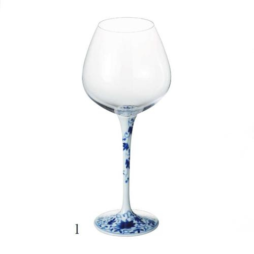 有田焼 浪漫グラス 染付華唐草 ハイレッグワイングラス<大>