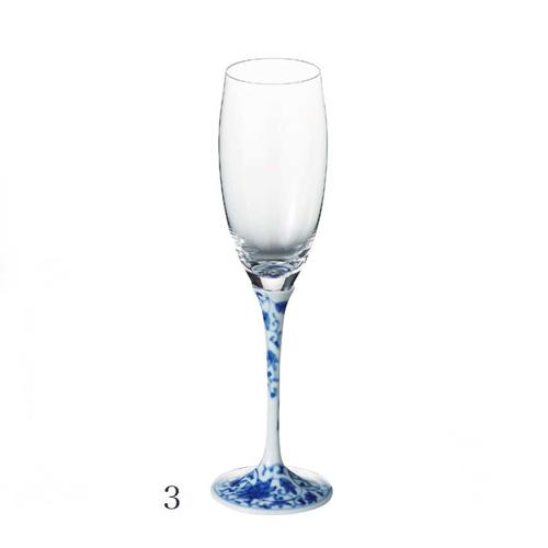 有田焼 浪漫グラス 染付華唐草 シャンパンフルート