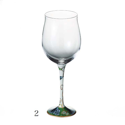 有田焼 浪漫グラス 染錦葡萄 ハイレッグワイングラス<小><5色あり>