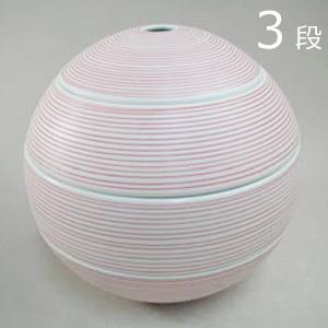 【化粧箱付】有田焼 李荘窯 珠型三段重 赤呉須象嵌