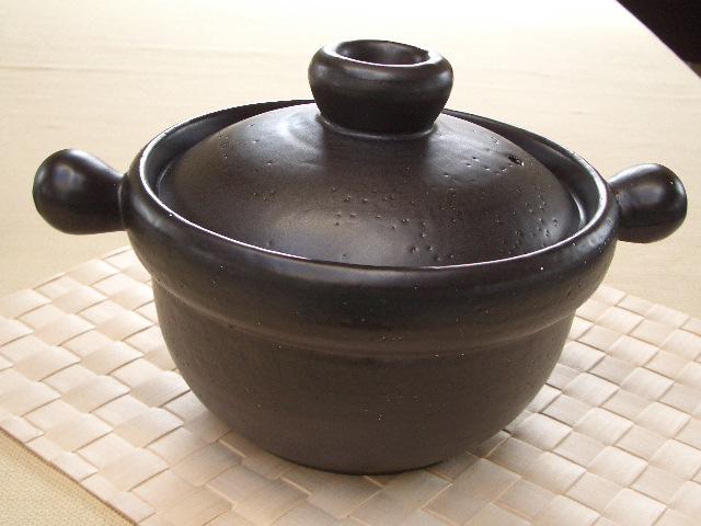 食器 おしゃれ ぽっちのついた IHごはん鍋(黒)2号炊き(耐熱)