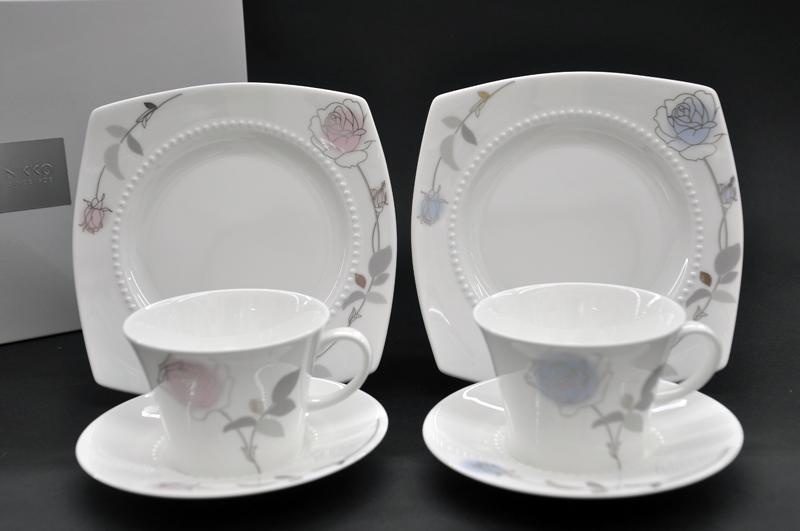 [NIKKO(ニッコー)]ROSE WATER(ローズウォーター)ペアティタイムセット [260cc][カップ&ソーサー][ケーキ皿]FINE BONE CHINA (ファインボーンチャイナ)NIKKO SINCE1908【送料無料】