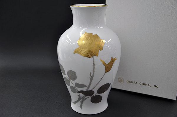 【送料無料】 大倉陶園金蝕バラ(2016) 28cm花生[花器][花瓶][フラワーベース(FLOWER VASE)]