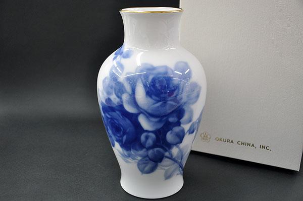 【送料無料】 大倉陶園ブルーローズ(8011) 28cm花生[花器][花瓶][フラワーベース(FLOWER VASE)]
