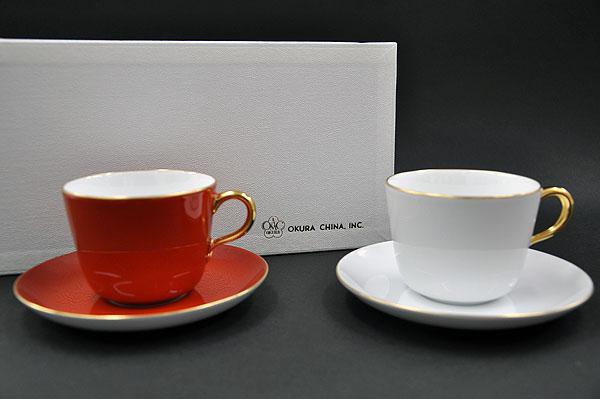 【送料無料】大倉陶園 紅白モーニング碗皿ペアセット