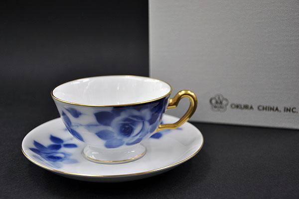 大倉陶園 ブルーローズ(8011)カップ&ソーサー (1客/碗皿)[ホテル][銀婚式][華麗なる一族]【送料無料】