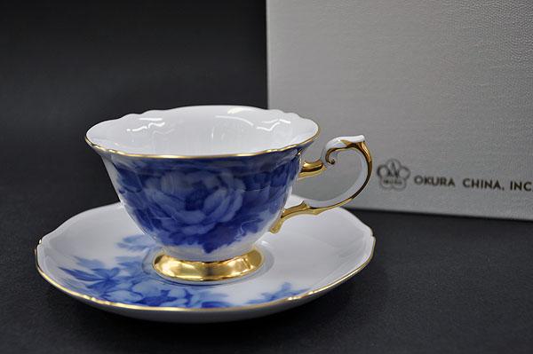 大倉陶園 岡染ぼたんカップ&ソーサー (1客/碗皿)【送料無料】
