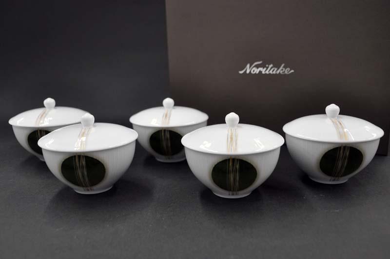 ノリタケ ~Noritake~汲出し揃(五客)[蓋付き]とこはぐさ(TOKOHAGUSA)#1658 [湯呑み][お茶のみ茶碗][仙茶][煎茶][ゆのみ][セット][来客用][送料無料]