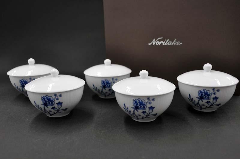 ノリタケ ~Noritake~汲出し揃(五客)[蓋付き]ブルーソレンティーノ(BLUE SORRENTINO)#1669 [湯呑み][お茶のみ茶碗][仙茶][煎茶][ゆのみ][セット][来客用][送料無料]