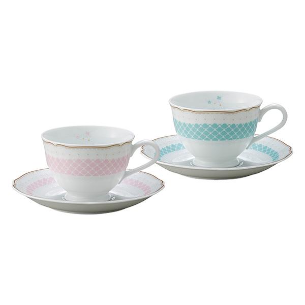 ノリタケ ~Noritake~デイジーベル(DAISYBELL) ティー・コーヒー碗皿ペアセット(ピンク・ブルー)
