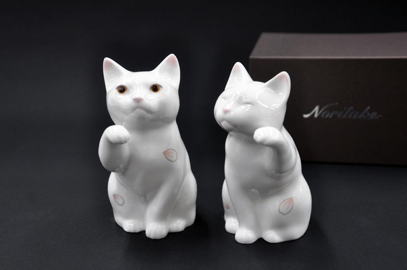 ノリタケ (ペアセット) ~Noritake~置物「招き猫」小 CAT]御祝/内祝/記念品プレゼント/ギフト/贈り物 [桜]FORTUNE