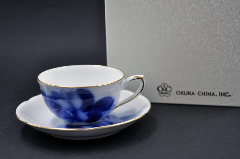 大倉陶園モーニング碗皿 (ブルーローズ)お祝/内祝/記念品/贈り物ギフト/プレゼント