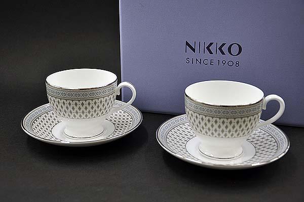 [NIKKO(ニッコー)] Granada(グラナダ)カップ&ソーサー(ペアセット) [240cc]【プラチナ(platinum)】FINE BONE CHINA (ファインボーンチャイナ)NIKKO SINCE1908【送料無料】