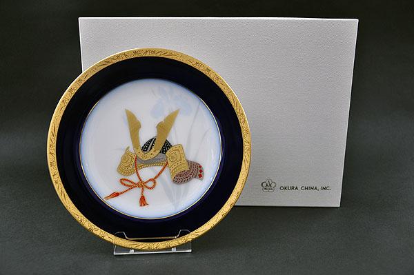 【送料無料】大倉陶園兜 20cm飾り皿[皿立て付き]