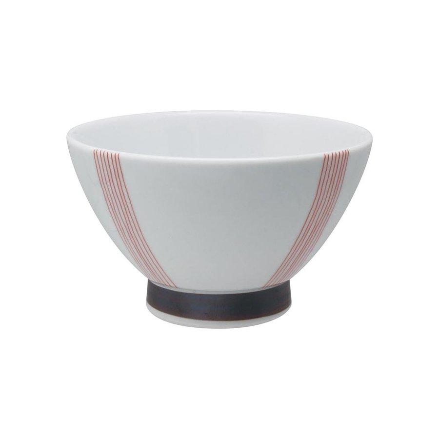 くらわんか碗 縞帯 レッド 波佐見焼 飯碗 くわらんか碗 手作り 赤 出群 日本製 高品質新品 おしゃれ 食器