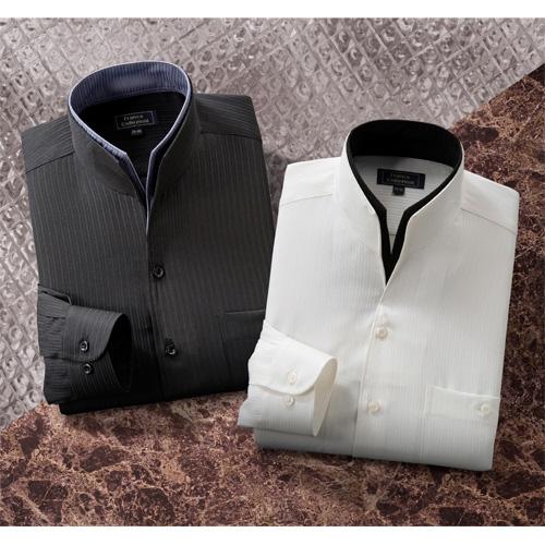 〈フランコ・コレツィオーニ〉 二重変化衿ドレスシャツ(2色組) 【Yシャツ ワイシャツ 黒 白 長袖 メンズ ドレスシャツ】【父の日 敬老の日 ギフト クリスマス】
