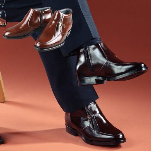 メンズアップシューズ牛革(デザインモカハーフブーツ) 【ヒールアップシューズ 5cm ビジネスシューズ 靴】【送料無料】【父の日 敬老の日 ギフト クリスマス】