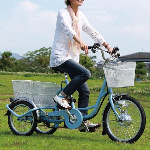 【直送】電動アシスト三輪自転車(ワイヤーロック付き)【アシらくチャーリー MG-TRM20EB】【送料無料】