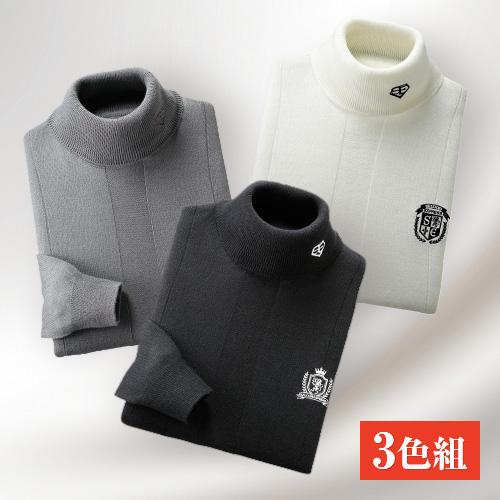 〈サルーンエクスプレス〉 モノトーンタートルネックセーター(3色組) 【セーター トレーナー ハイネック 無地 メンズ】