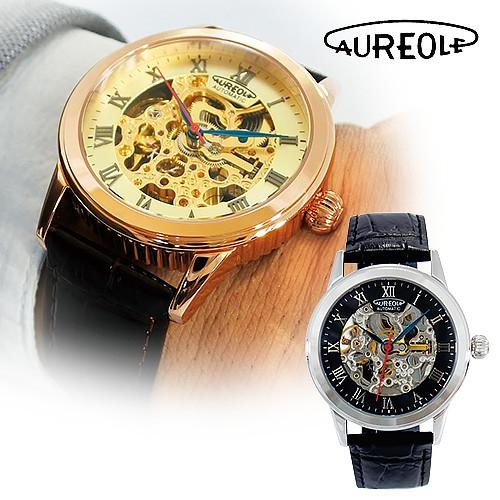 スイスブランド オレオール スケルトン機械式時計 【自動巻 牛革 フルスケルトン AUREOLE SW-470M】【送料無料】
