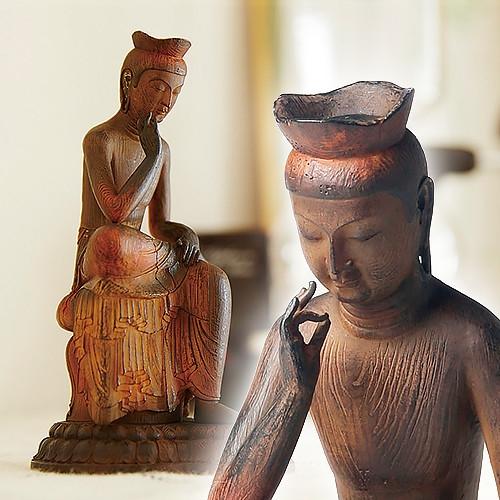 リアルインテリア仏像「弥勒菩薩」 【卓上サイズ ポリストーン 】【送料無料】