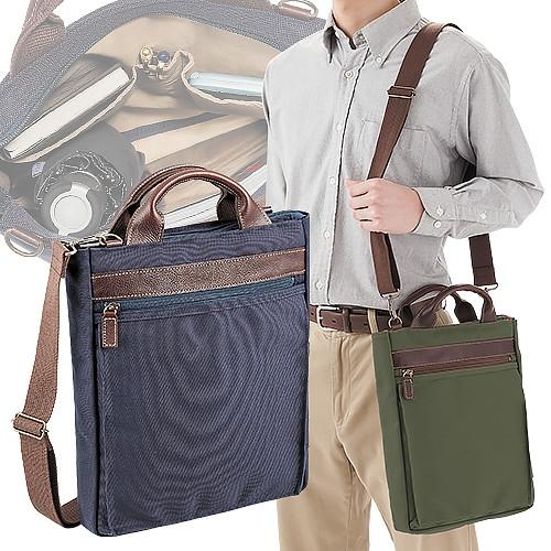 豊岡製・牛革使いのA4縦型2WAYショルダーバッグ【帆布 キャンバス レザー メンズ 鞄】【送料無料】